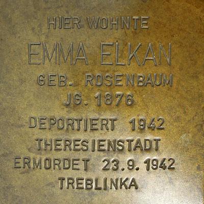 Stolperstein Emma Elkan
