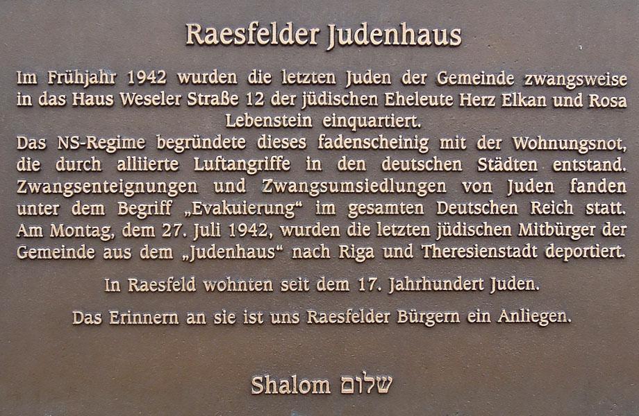 Gedenktafel am Raesfelder Judenhaus